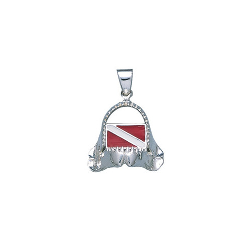 Dive r's Flag Shark Bite Sterling Silver Pendant TP2692