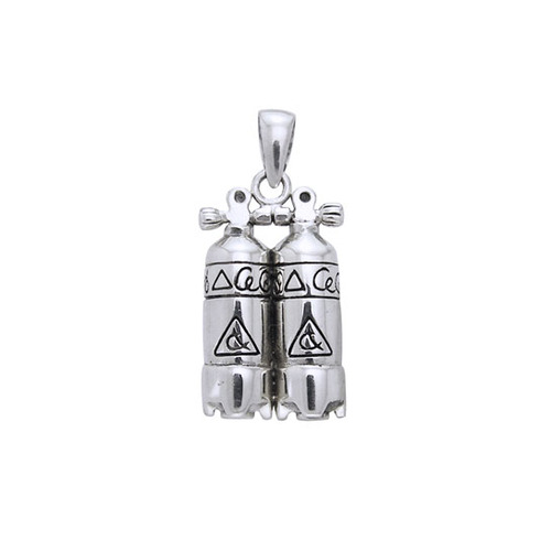Double Dive Tank Sterling Silver Pendant TP2331