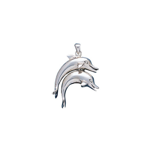Double Dolphins Sterling Silver Pendant TP1003